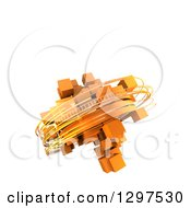 Clipart Of A 3d Orange Cubic Structure With Rotation Rings Floating On White With Text Space Royalty Free Illustration