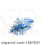 Clipart Of A 3d Blue Cubic Structure With Rotation Rings Floating On White With Text Space Royalty Free Illustration