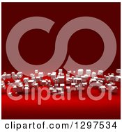 Clipart Of A 3d Background Of Floating White Cubes On Red Royalty Free Illustration