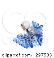 Clipart Of A 3d Floating Structure Of Blue And White Blocks On White With Text Space 2 Royalty Free Illustration