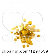 Clipart Of A 3d Floating Cluster Of Yellow Cubes Or Blocks On White With Text Space Royalty Free Illustration