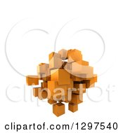 Clipart Of A 3d Floating Cluster Of Orange Cubes Or Blocks On White With Text Space Royalty Free Illustration