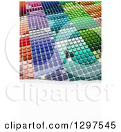 Clipart Of A 3d Grid Of Colorful Blocks With Torn White Paper Text Space Royalty Free Illustration