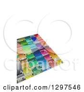 Clipart Of A 3d Grid Of Colorful Blocks With White Text Space Royalty Free Illustration
