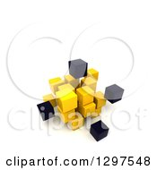 Clipart Of A 3d Cluster Of Black And Yellow Cubes And Blocks On White With Text Space Royalty Free Illustration