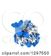 Clipart Of A 3d Floating Structure Of Blue And White Blocks On White With Text Space Royalty Free Illustration