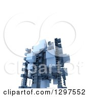Clipart Of A 3d Floating Structure Of Blue Blocks On White With Text Space Royalty Free Illustration