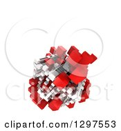 Clipart Of A 3d Floating Structure Of Red And White Blocks On White With Text Space Royalty Free Illustration