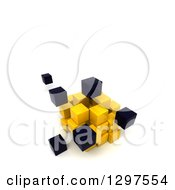Clipart Of A 3d Cluster Of Black And Yellow Cubes And Blocks On White With Text Space 2 Royalty Free Illustration