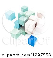 Clipart Of A 3d Cluster Of Pastel Colored Cubes On White Royalty Free Illustration
