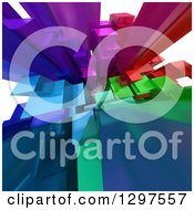 Clipart Of A 3d Background Of Colorful Cubic Towers That Resemble Skyscrapers Royalty Free Illustration