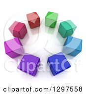 3d Circle Of Colorful Cubes On A Reflective White Background