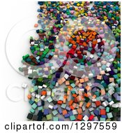 Clipart Of A 3d Background Of Colorful Blocks Or Cubes On White 3 Royalty Free Illustration