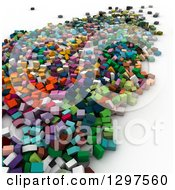 Clipart Of A 3d Background Of Colorful Blocks Or Cubes On White Royalty Free Illustration