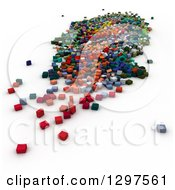 Clipart Of A 3d Background Of Colorful Blocks Or Cubes On White 2 Royalty Free Illustration
