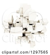 Clipart Of A 3d Floating Cluster Of White Cubes Or Blocks On White Royalty Free Illustration