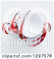 Clipart Of A 3d White Circle With Red Ribbons On Shading Royalty Free Illustration