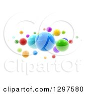 3d Floating Colorful Spheres On White 2