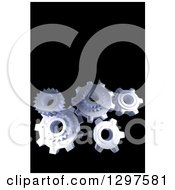Clipart Of 3d Floating Chrome Gear Cogs On Black With Text Space Royalty Free Illustration