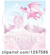 Clipart Of A Pink Dragon Flying Over A Fairy Tale Castle On A Hill With Snow Capped Mountains Royalty Free Vector Illustration