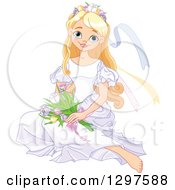 Clipart Of A Pretty Blond Spring Time Princess Sitting On The Floor With Flowers Royalty Free Vector Illustration by Pushkin