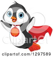 Clipart Of A Cute Super Hero Penguin Flying Royalty Free Vector Illustration