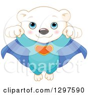 Clipart Of A Cute Polar Bear Cub Super Hero Flying Forward Royalty Free Vector Illustration