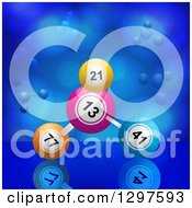 Clipart Of A 3d Bingo Or Lottery Ball Molecule Over Blue Royalty Free Vector Illustration by elaineitalia