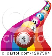 Clipart Of A Curvy Rainbow With 3d Colorful Bingo Or Lottery Balls Royalty Free Vector Illustration