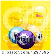 Clipart Of A Plane Flying Over A Sun 3d Lottery Or Bingo Balls With Sunglasses And A Disco Sphere With Halftone And Palm Trees Royalty Free Vector Illustration