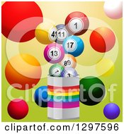 Clipart Of A Paint Can With Colorful Bingo Or Lottery Balls On Green Royalty Free Vector Illustration