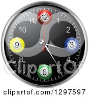 Clipart Of A 3d Bingo Or Lottery Ball Wall Clock Royalty Free Vector Illustration by elaineitalia