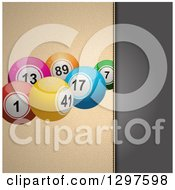 Clipart Of A Split Panel Background Of Black Leather And Textured Cream With Bingo Or Lottery Balls Royalty Free Vector Illustration