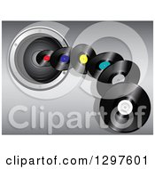 Clipart Of 3d Vinyl Record Albums Flying Over A Music Speaker On Gradient Gray Royalty Free Vector Illustration by elaineitalia