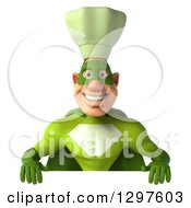Clipart Of A 3d Caucasian Male Super Chef In A Green Suit Smiling Over A Sign Royalty Free Illustration