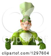 Clipart Of A 3d Caucasian Male Super Chef In A Green Suit Giving A Thumb Up Over A Sign Royalty Free Illustration