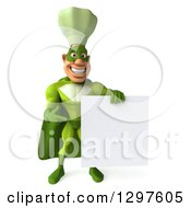 Clipart Of A 3d Caucasian Male Super Chef In A Green Suit Holding And Pointing To A Blank Sign Royalty Free Illustration