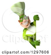 Clipart Of A 3d Caucasian Male Super Chef In A Green Suit Looking Around A Sign Royalty Free Illustration
