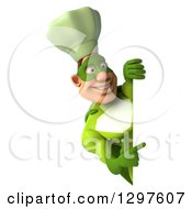 Clipart Of A 3d Caucasian Male Super Chef In A Green Suit Pointing Around A Sign Royalty Free Illustration