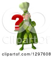 Clipart Of A 3d Caucasian Male Super Chef In A Green Suit Thinking And Holding A Question Mark Royalty Free Illustration