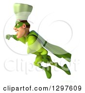 Clipart Of A 3d Caucasian Male Super Chef Flying To The Left In A Green Suit Royalty Free Illustration