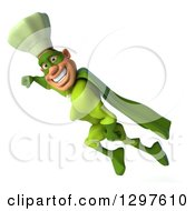 Clipart Of A 3d Caucasian Male Super Chef Smiling And Flying To The Left In A Green Suit Royalty Free Illustration