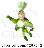 Clipart Of A 3d Caucasian Male Super Chef Smiling And Flying In A Green Suit Royalty Free Illustration