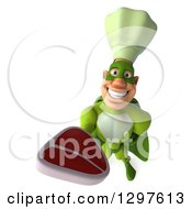 Clipart Of A 3d Caucasian Male Super Chef In A Green Suit Holding Up A Beef Steak Royalty Free Illustration