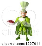 Clipart Of A 3d Caucasian Male Super Chef In A Green Suit Holding A Beef Steak Royalty Free Illustration