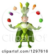 Clipart Of A 3d Caucasian Male Super Chef In A Green Suit Juggling Produce Royalty Free Illustration by Julos