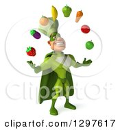 Clipart Of A 3d Caucasian Male Super Chef In A Green Suit Facing Slightly Right And Juggling Produce Royalty Free Illustration