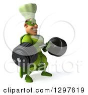 Clipart Of A 3d Caucasian Male Super Chef In A Green Suit Facing Slightly Right And Lifting A Heavy Barbell Royalty Free Illustration