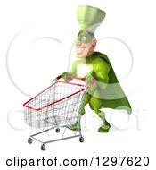 Clipart Of A 3d Caucasian Male Super Chef In A Green Suit Walking To The Left With A Shopping Cart Royalty Free Illustration