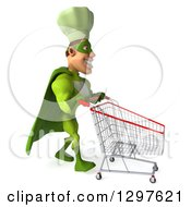 Clipart Of A 3d Caucasian Male Super Chef In A Green Suit Walking To The Right With A Shopping Cart Royalty Free Illustration